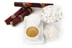 Various kinds of sugar on white Royalty Free Stock Image