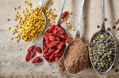 Various kinds of superfoods Royalty Free Stock Photo