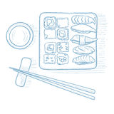 Various kinds of sushi. stock illustration