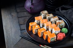 Various kinds of sushi royalty free stock image