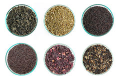 Various kinds of tea. Six types of tea isolated on white background Stock Photos