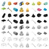 Various kinds of tents and other tourist accessories. The tent set collection icons in cartoon style vector symbol stock. Illustration Royalty Free Stock Photography