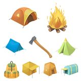 Various kinds of tents and other tourist accessories. The tent set collection icons in cartoon style vector symbol stock. Illustration Stock Photography