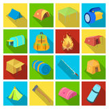 Various kinds of tents and other tourist accessories. The tent set collection icons in flat style vector symbol stock. Illustration Stock Photography