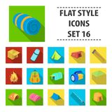 Various kinds of tents and other tourist accessories. The tent set collection icons in flat style vector symbol stock. Illustration Royalty Free Stock Images