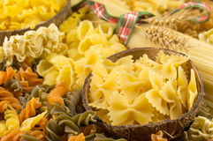 Various kinds of uncooked pasta Stock Photography