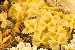 Various kinds of uncooked pasta Stock Image