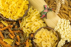 Various kinds of uncooked pasta Royalty Free Stock Photography