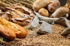 Various kinds of whole wheat bread Stock Images
