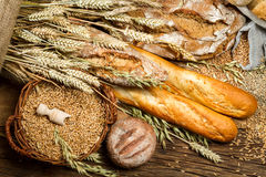 Various kinds of whole wheat bread Royalty Free Stock Image