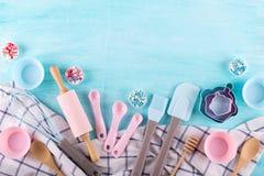 Free Various Kitchen Baking Utensils. Flat Lay. Mockup For Recipe On Blue Background. Royalty Free Stock Image - 123192246