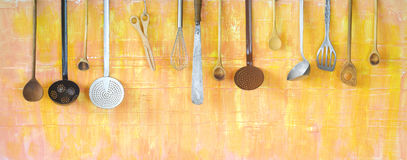 Various kitchen utensils, cooking concept. Panoramic format, good copy space Stock Images