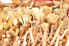 Various kitchen utensils made by artisans in wood Stock Image