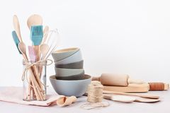 Various kitchen utensils. Recipe cookbook, cooking classes conce stock photos