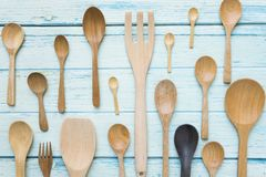 Various kitchen utensils on wooden table background Royalty Free Stock Photography