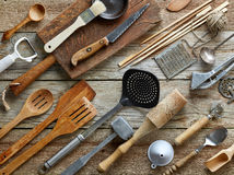 Various kitchen utensils. On wooden table, top view Stock Photo