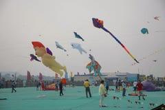SABARMATI RIVERFRONT, AHMEDABAD, GUJARAT, INDIA, 13 January 2018. Various kites competing at the International Kite Festival. Various kites competing at the Stock Photo