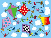 Various kites flying on sky Royalty Free Stock Photo