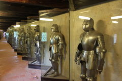 Various Knight suits of armor royalty free stock photo