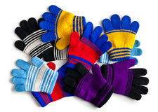 Various knitted gloves Royalty Free Stock Images