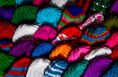 Various knitting wool hat Royalty Free Stock Images