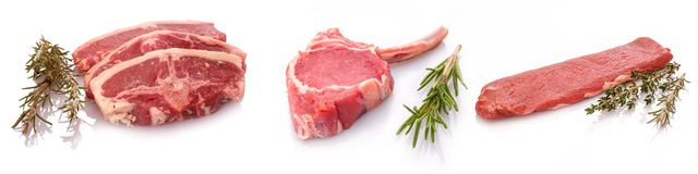 Various lamb meat filet cutlet on white stock image