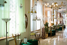 Various lamps at store Royalty Free Stock Photo
