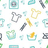 Various Laundry Themed Icons Stock Images
