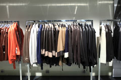 Various leather jackets on the hangers Stock Image
