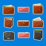 Various leather purses and wallets labels set. Various leather purses labels set. Wallets and clutches for men and women with banknotes and credit cards royalty free illustration