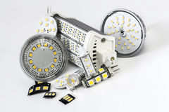 Various led bulbs G4, GU10, MR16, R7s and individual chips Stock Images