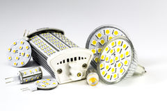 Various led bulbs G4, MR16, R7s and individual chips Stock Image