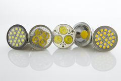 Various LED bulbs GU10 with different cooling SMD chips Royalty Free Stock Photo