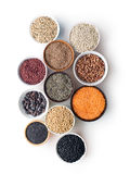 Various legumes in bowls Royalty Free Stock Images
