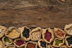 Various legumes with dieting and vegetarian food concept royalty free stock photography