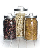 Various legumes in the jars Royalty Free Stock Photo