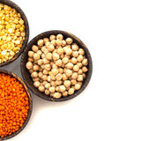 Various legumes in wooden bowl royalty free stock photo