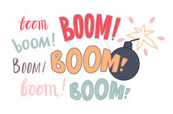 Various lettering Boom and a bomb Royalty Free Stock Photography