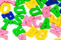 Various letters and digits. On  the white board Stock Images