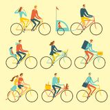 Various lifestyle city cyclists set Royalty Free Stock Photo