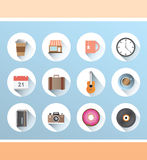 Various lifestyle icons on blue Royalty Free Stock Photo