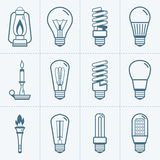 Various light bulb icons set. Vector illustration. Royalty Free Stock Images