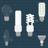 Various Light Bulbs in color stock illustration