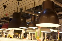 Various lighting fixtures, lamps and nightlights in the Ikea sto Stock Images