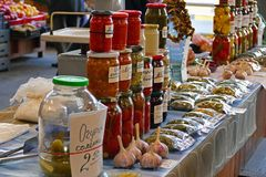 Various local products at the bazaar. In Riga, Latvia royalty free stock photos