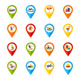 Various Locations Signs Colorful Icons Set Royalty Free Stock Photography