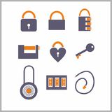 Various locks icons Stock Images