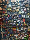 Various pins on display at the Star Trek convention in Las Vegas