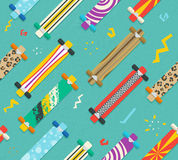 Various Longboards Diagonal Seamless Pattern Stock Photography