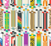 Various Longboards Seamless Pattern Stock Photography